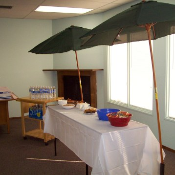 Hospitality area with snacks and water