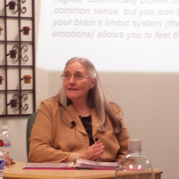 Kathy teaching about emotions and the brain
