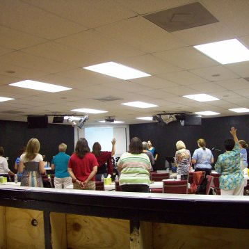 The attendees during worship