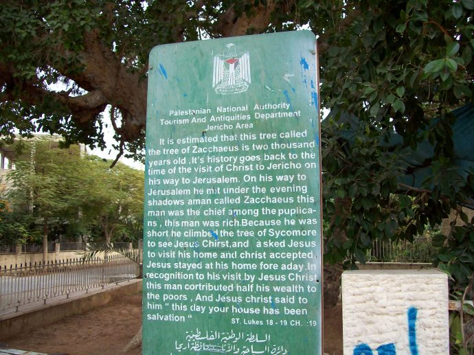 Sign at Zacchaeus tree