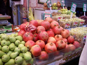 Pears, pomegranates and grapes