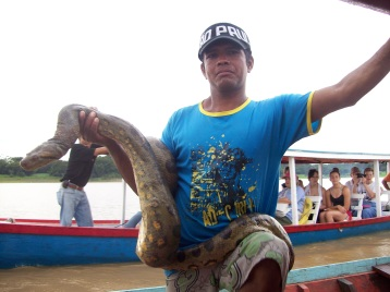 Man and his Anaconda snake!