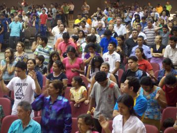 Crowd at large church service