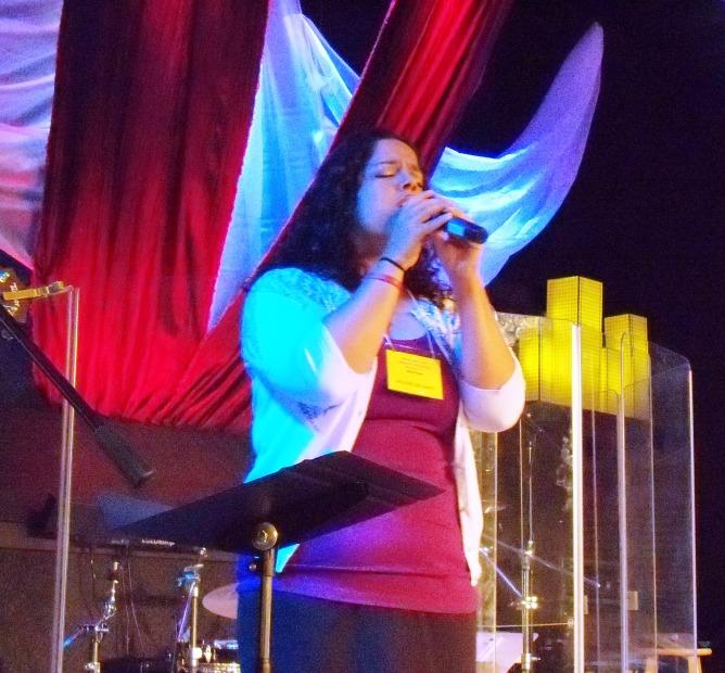 Valerie deep in worship